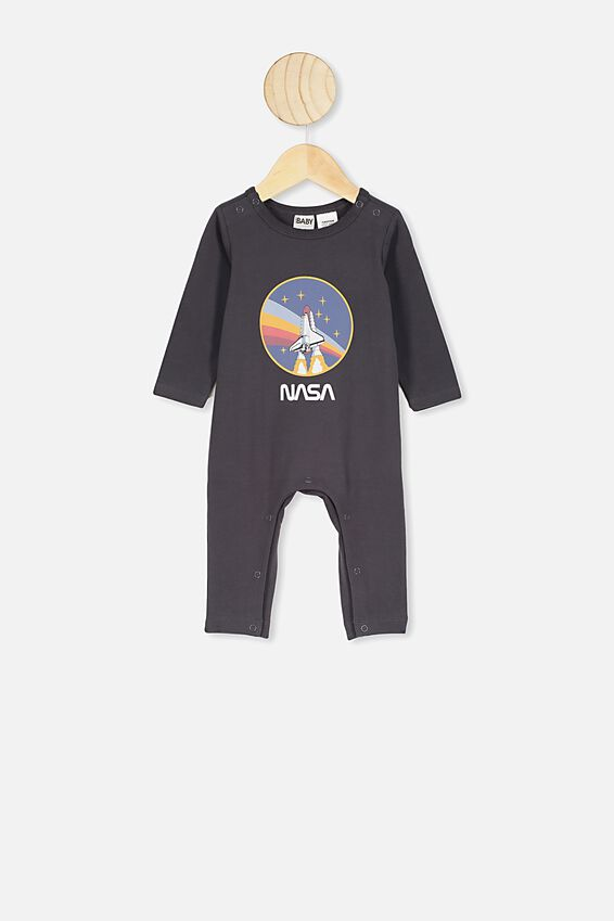 The Long Sleeve Snap Romper, LCN NAS GRAPHITE GREY CIRCLE NASA