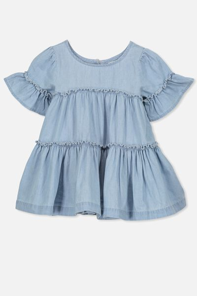 Abby Flutter Dress, CHAMBRAY BLUE