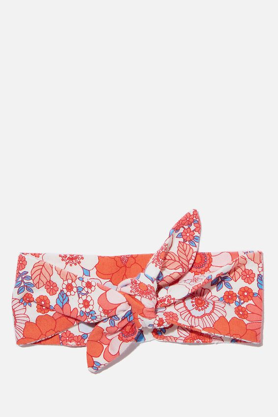 The Tie Headband, VANILLA/RED ORANGE RETRO FLORAL