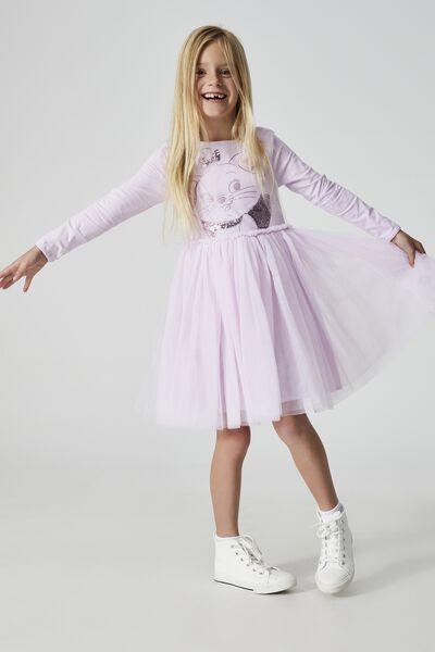 License Ivy Long Sleeve Dress, LCN DIS/PALE VIOLET/ARISTOCATS