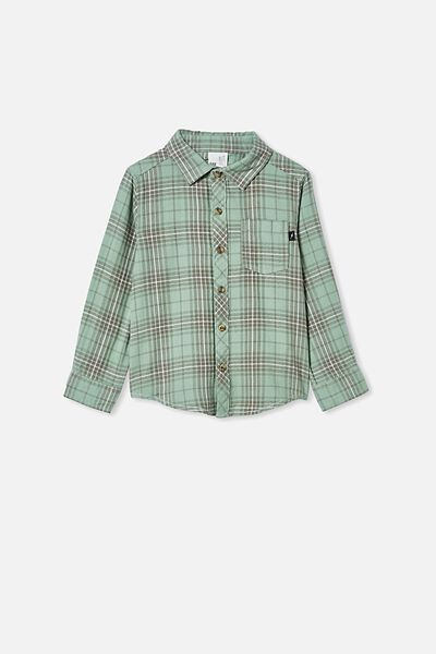 Rugged Long Sleeve Shirt, GREEN PLAID