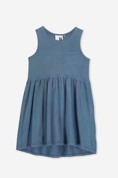 Freya Sleeveless Dress, WASHED STEEL