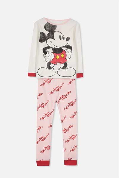 Alicia Long Sleeve Girls PJ Set, LCN MICKEY MOUSE LOGO