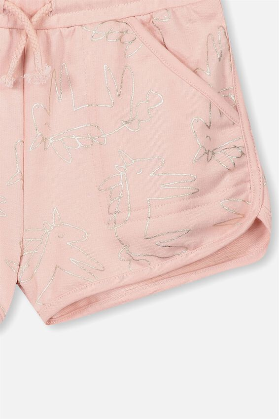 Nina Knit Shorts, PEACH WHIP FOIL UNICORNS