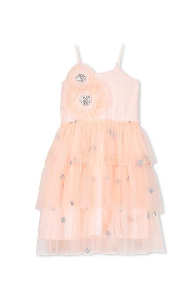 Iris Tulle Dress, FLOSS PINK/ROSETTES