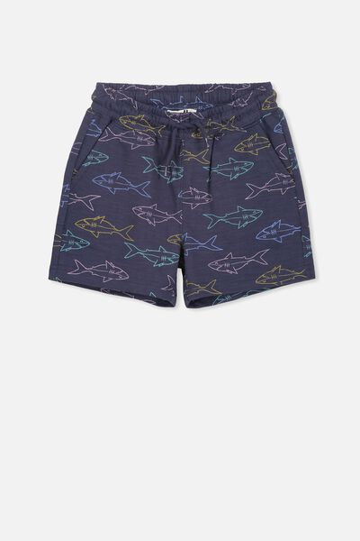 Henry Slouch Short, WASHED NAVY/SHARKS