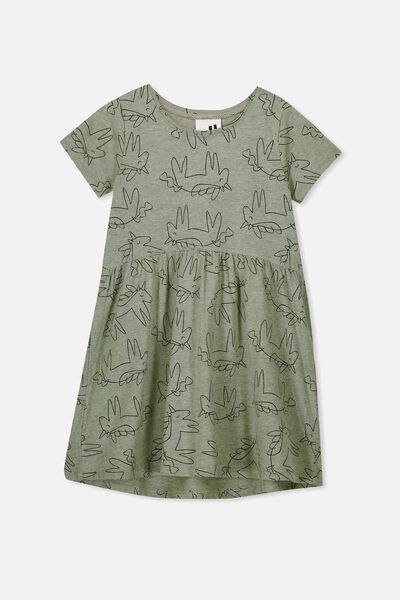 Freya Short Sleeve Dress, SAGE MARLE/UNICORN