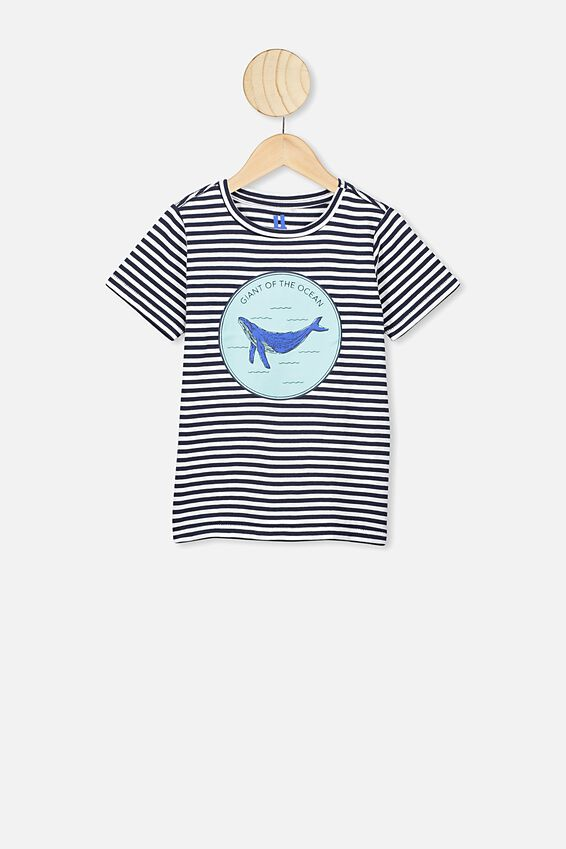 Max Short Sleeve Tee, NAVY WHITE STRIPE/WHALE