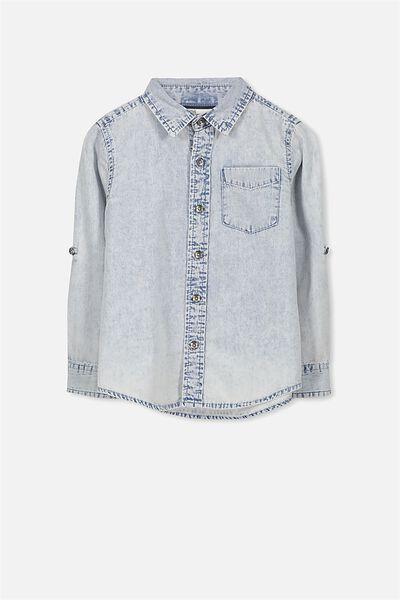 Noah Long Sleeve Shirt, WASHED NAVY TEXTURED DENIM