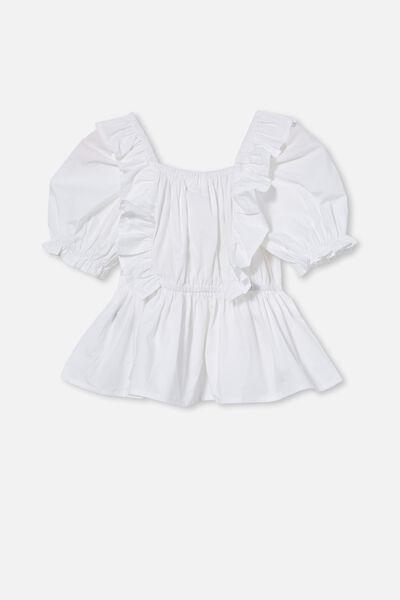 Tessa Shirred Short Sleeve Top, WHITE