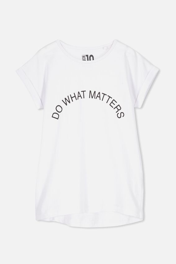 Penelope Short Sleeve Tee, WHITE/DO WHAT MATTERS/DROP