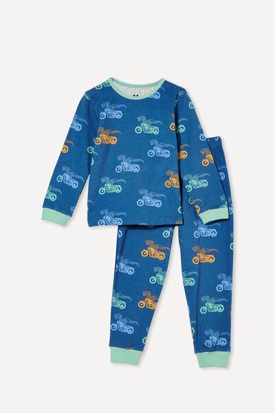 Orlando Long Sleeve Pyjama Set, DINO SKELETON MOTORBIKE/PETTY BLUE