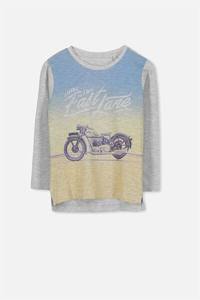 Tom Long Sleeve Tee, LT GREY MARLE FAST LANE/SIS