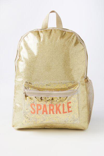 School Backpack, GOLD GLITTER SPARKLE