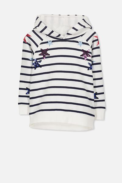 Scarlett Fleece Raglan Hoodie, VANILLA STRIPE/APPLIQUE STAR
