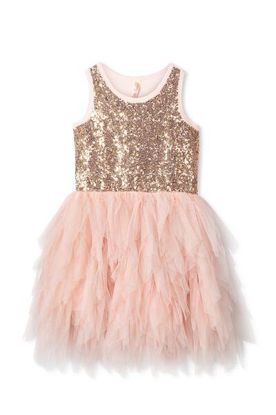 Iris Tulle Dress, DUSTY PINK/GOLD RUFFLES