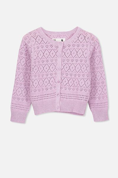 Penny Pointelle Cardigan, BABY LILAC MARLE