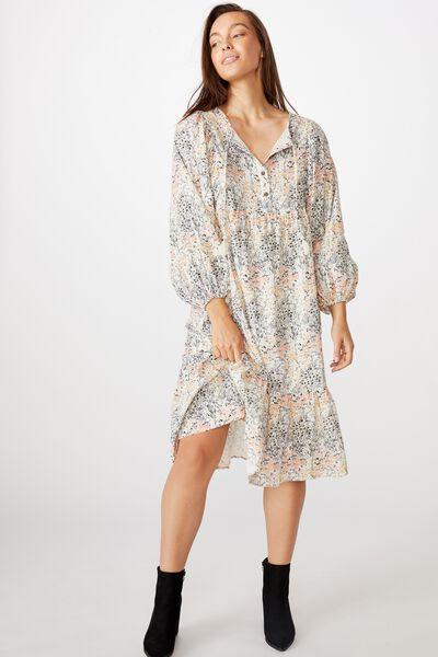 Mama Goldie Long Sleeve Dress, LCN KIP/LITTLE FLOWERS