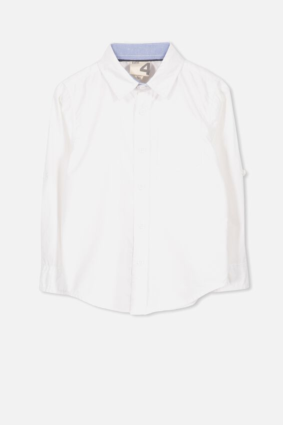 Noah Long Sleeve Shirt, WHITE