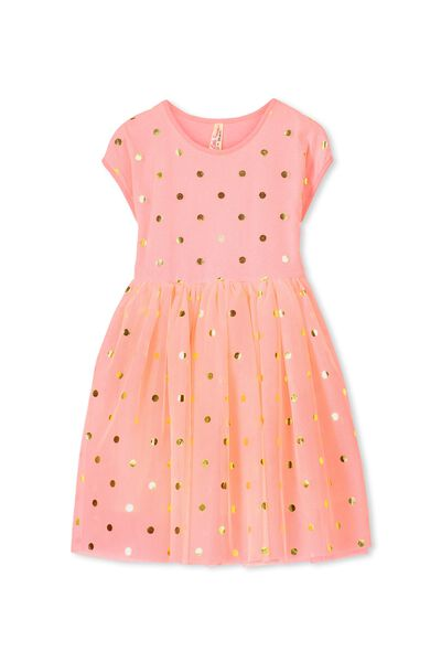 Indie Tulle Dress, TAHITIAN PINK/GOLD FOIL SPOT