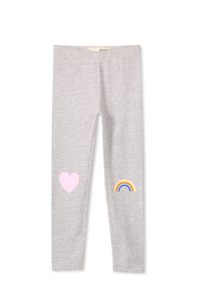 Huggie Tights, LT GREY MARLE/HEART & RAINBOW