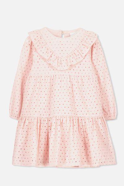 Grace Long Sleeve Dress, SILVER PINK
