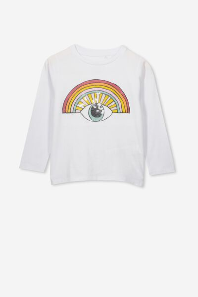 Stevie Ls Embellished Tee, WHITE/SEQUIN RAINBOW EYE/SET IN