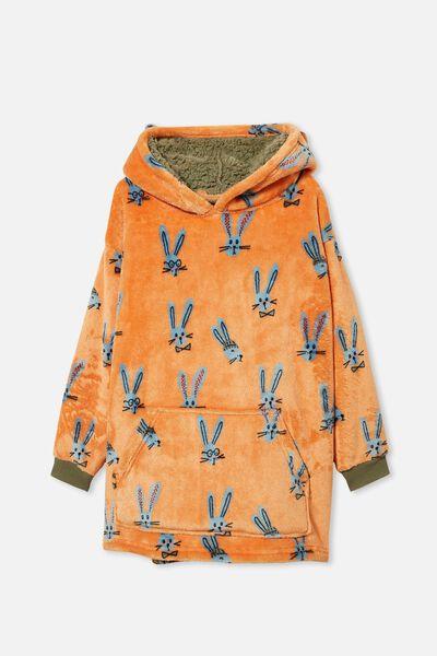 Personalised Snugget Kids Oversized Hoodie, STAY HOPPY/ SILVER SAGE