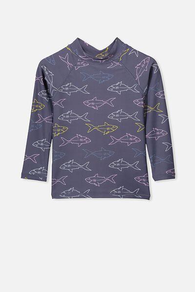 Flynn Long Sleeve Rash Vest, VINTAGE NAVY SHARKS