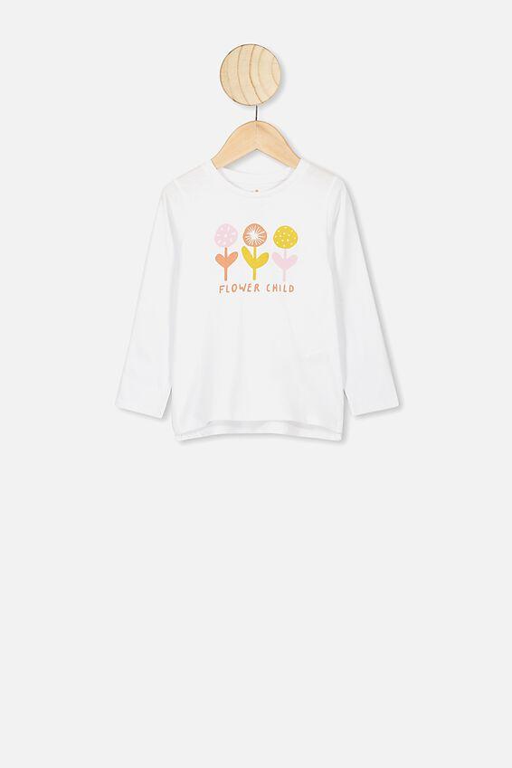 Penelope Long Sleeve Tee, WHITE/FLOWER CHILD