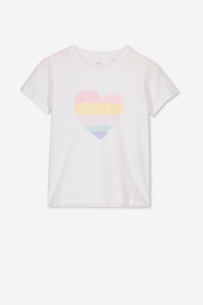 Penelope Short Sleeve Tee, WHITE/RAINBOW HEART/MAX