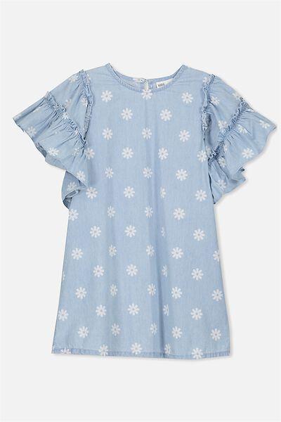 Mai Short Sleeve Dress, BLEACH WASH/DAISY