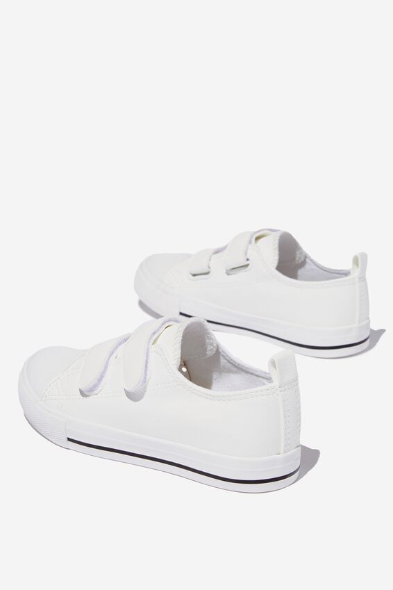 Classic Double Strap Trainer, WHITE SMOOTH