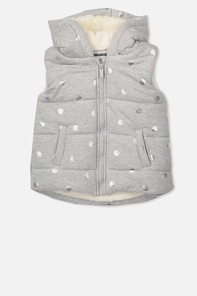 Tallulah Sherpa Vest, GREY MARLE/SILVER DOT