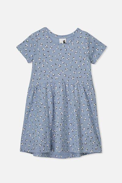 Freya Short Sleeve Dress, DUSTY BLUE/DITSY FLORAL