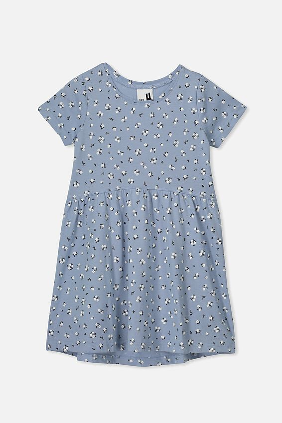 Freya Short Sleeve Dress, DUSTY BLUE/DITSY FLORAL