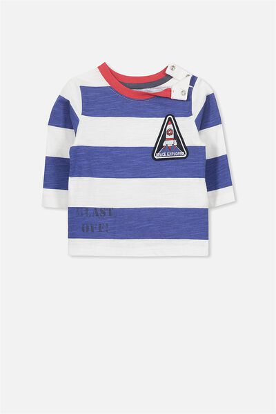 Freddie Ls Tee, INK BLUE STRIPE/MISSION