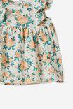 Megan Sleeveless Ruffle Dress, VANILLA/MELON POP WHITBY FLORAL