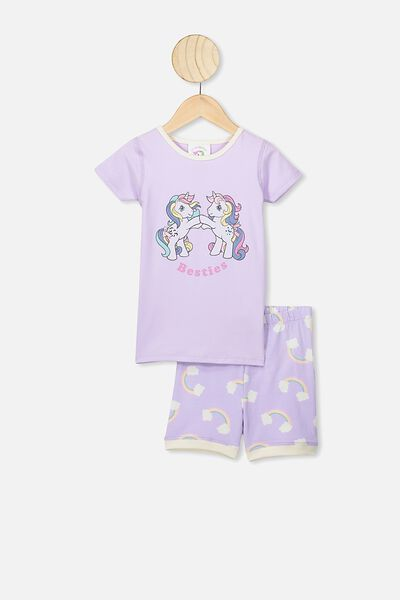 Nikki Short Sleeve Pajama Set, LCN HAS  VINTAGE LILAC/MY LITTLE PONY BESTIES