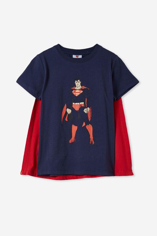 Short Sleeve License Cape Tee, LCN WB INDIGO / SUPERMAN CAPE