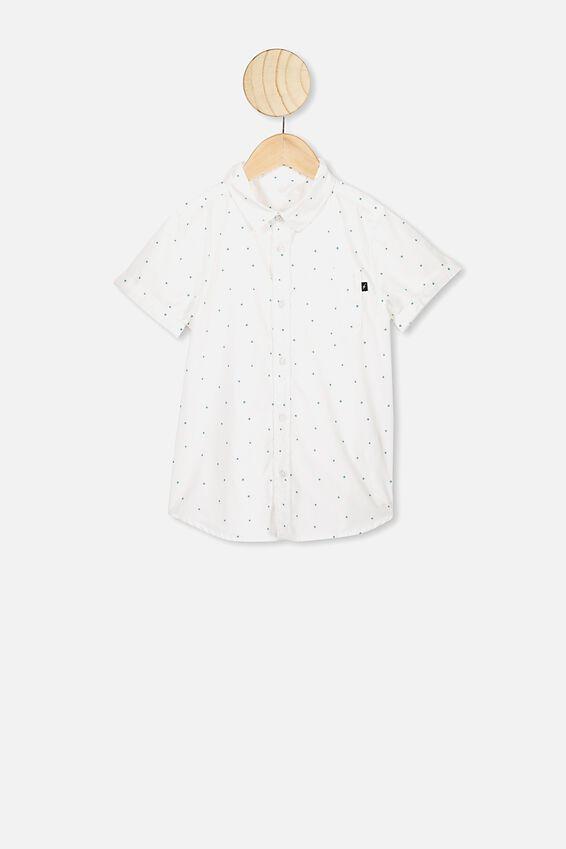 Resort Short Sleeve Shirt, WHITE/TEAL STARS