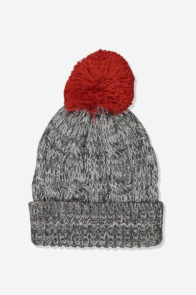Winter Knit Beanie, GREY MARLE/POM POM