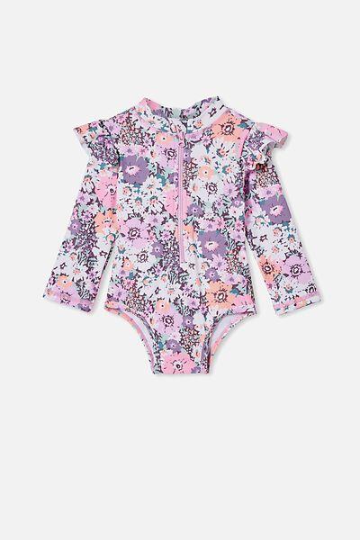 Lucy Long Sleeve Swimsuit, DUSK PURPLE/FLORAL BOUQUET