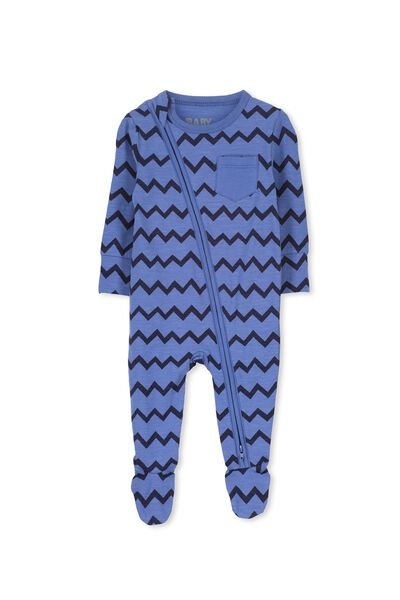 Mini Zip Through Romper, WATERBLUE/INKY ZIG ZAG