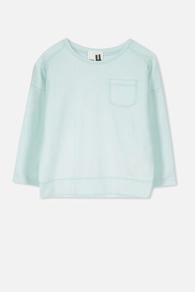 Luca Long Sleeve Top, MINTY BLUE/GARMENT DYE