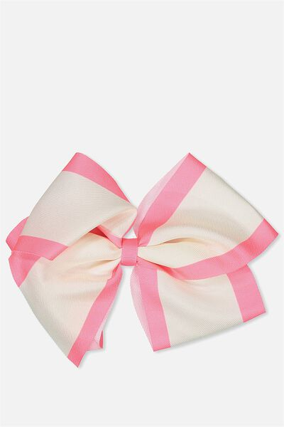 Statement Bows, SHELL PEACH/STRAWBERRY STRIPE