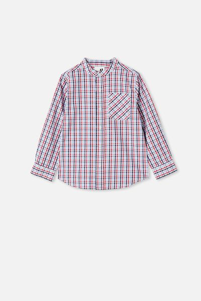 Grandpa Collar Prep Shirt, MINI CHECK/LUCKY RED/INDIGO/SKY HAZE