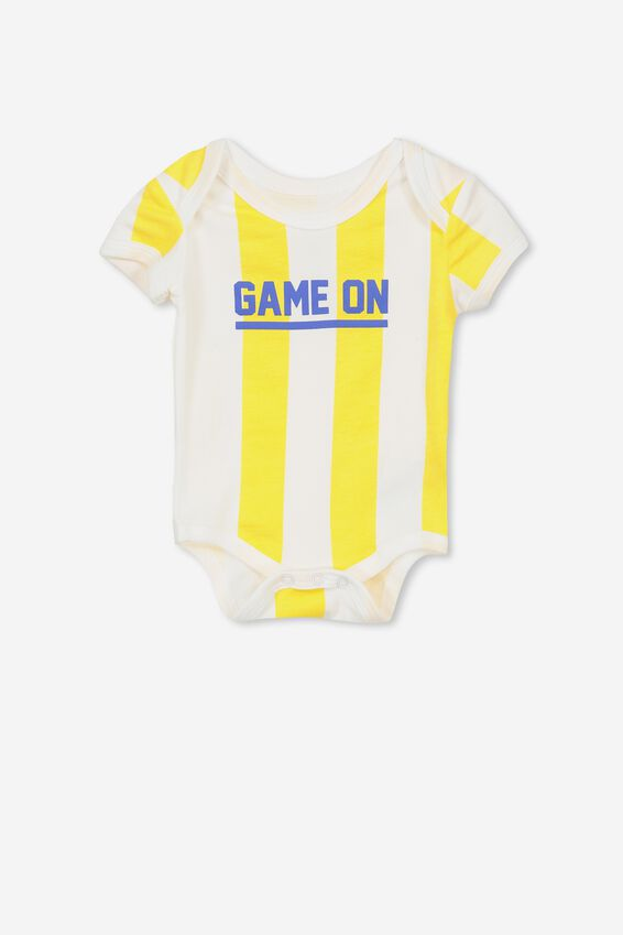 Mini Short Sleeve Bodysuit, DUNGAREE STRIPE/GAME ON