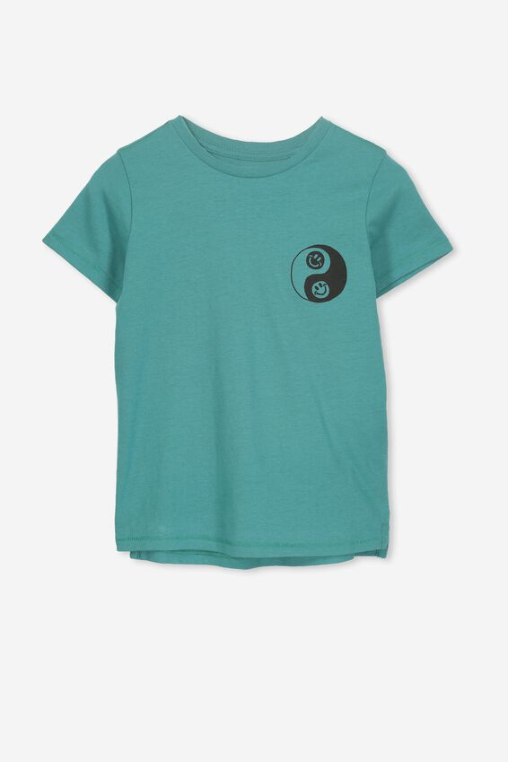 Max Short Sleeve Tee, ROCK POOL BLUE/YING AND YANG SMILEY