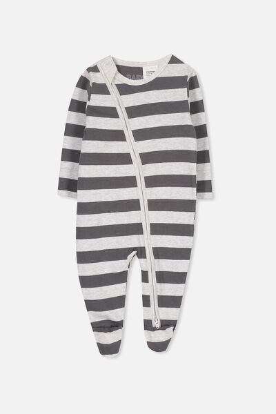 Mini Zip Through Romper, CLOUD MARLE/GRAPHITE GREY STRIPE